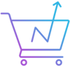Icon of a shopping cart with arrow trending upward