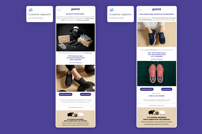Yuuc's segmented email campaign for Black Friday 2019