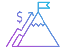 Icon of a mountain with a flag at the top and a trending graph and dollar sign