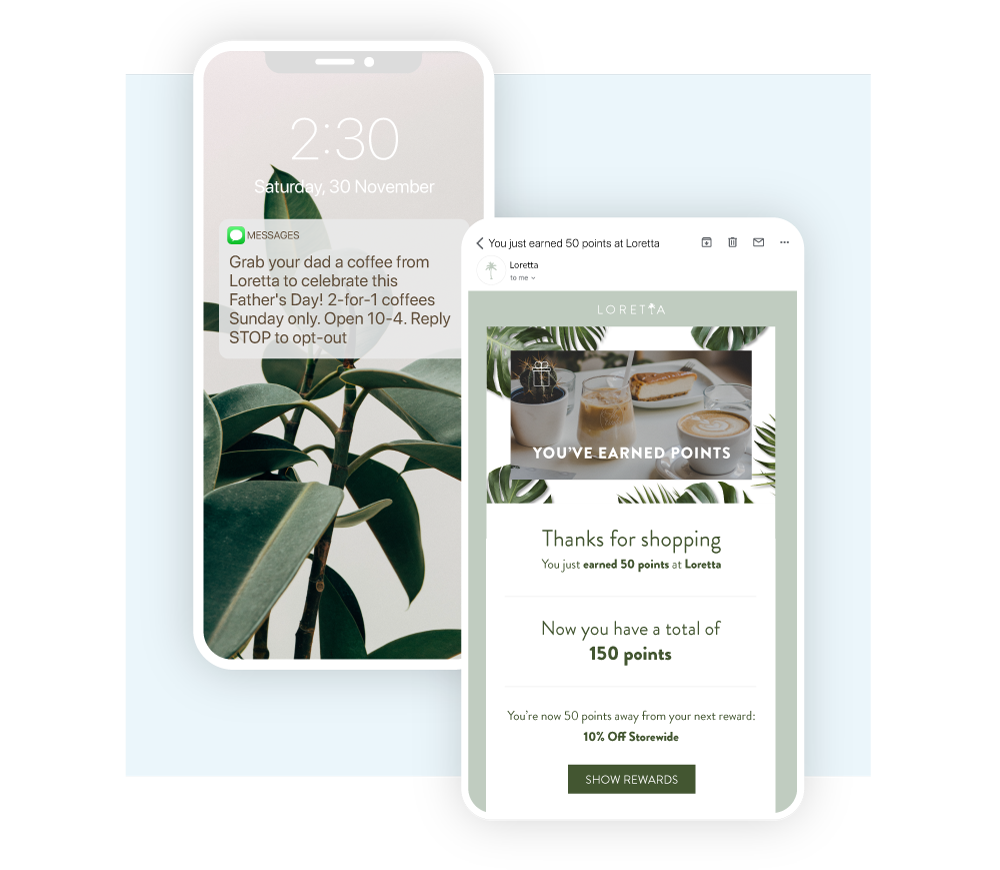 Beautifully designed loyalty points email and SMS campaign