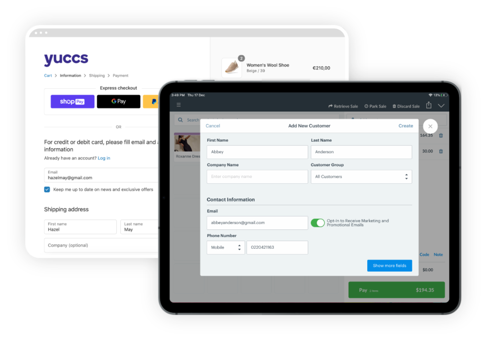 Marsello Automatic POS and eCommerce sync Shopify Vend example