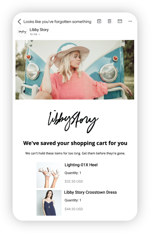 Recover abandoned carts with emails that convert