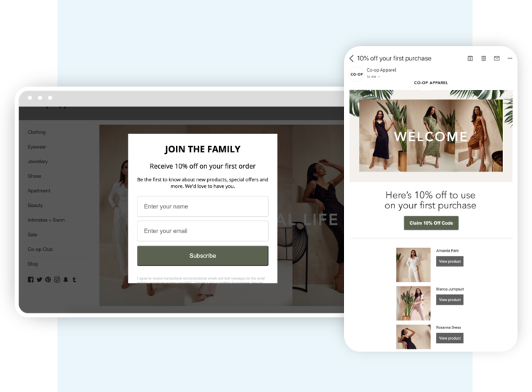 Marsello Pop Up Form and Automated Welcome Email Example Turn visitors into customers