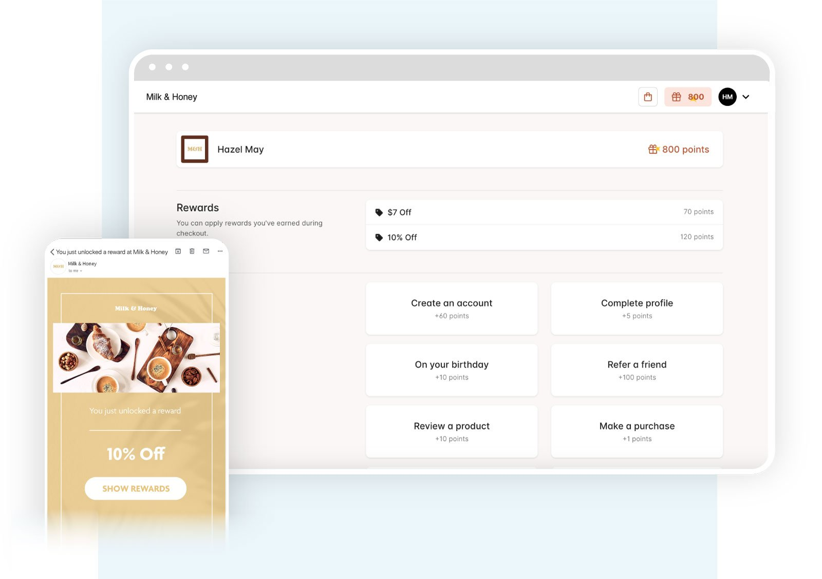 Bopple customer rewards and reward discount email